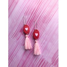 Hanging polymerclay earrings with tassels