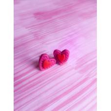Heart polymerclay earrings studs